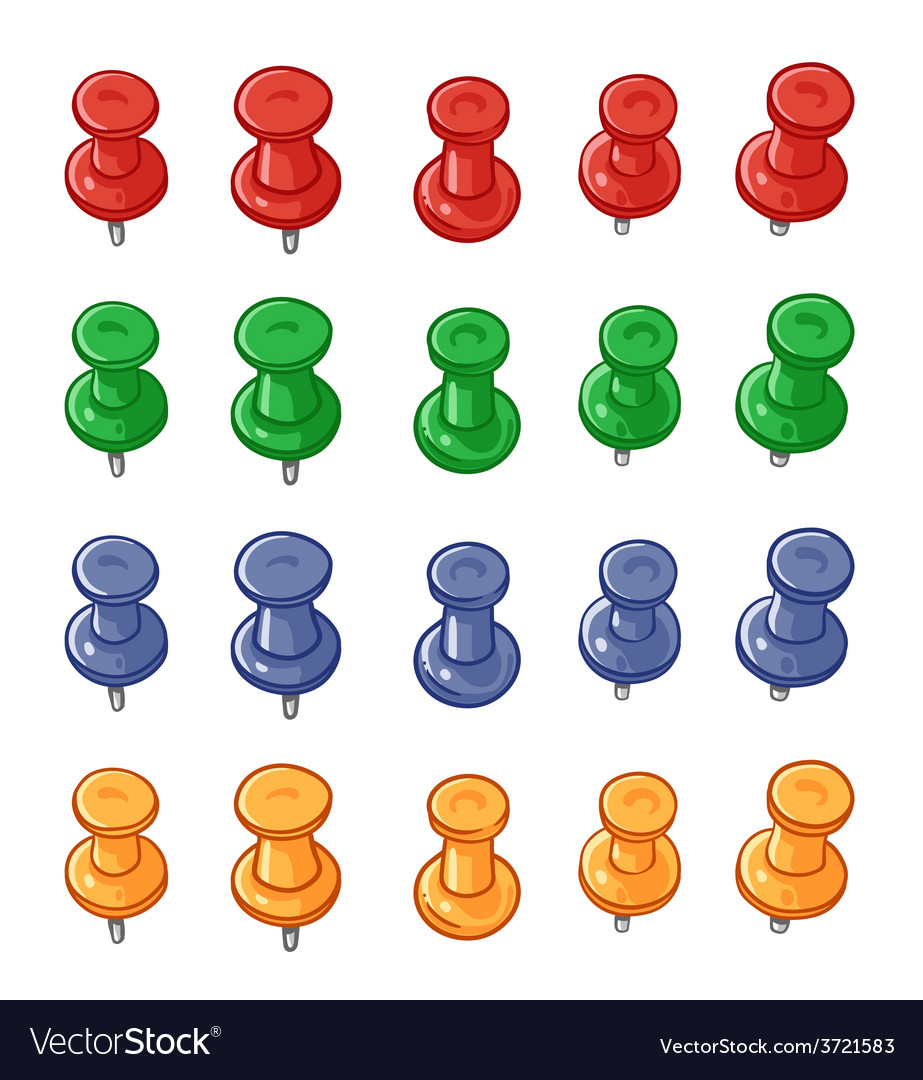Set of push pins vector | Price: 1 Credit (USD $1)