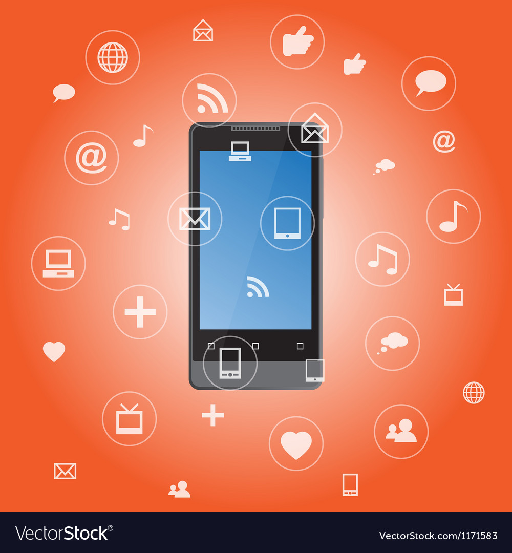 Smartphone with media application icons vector | Price: 1 Credit (USD $1)