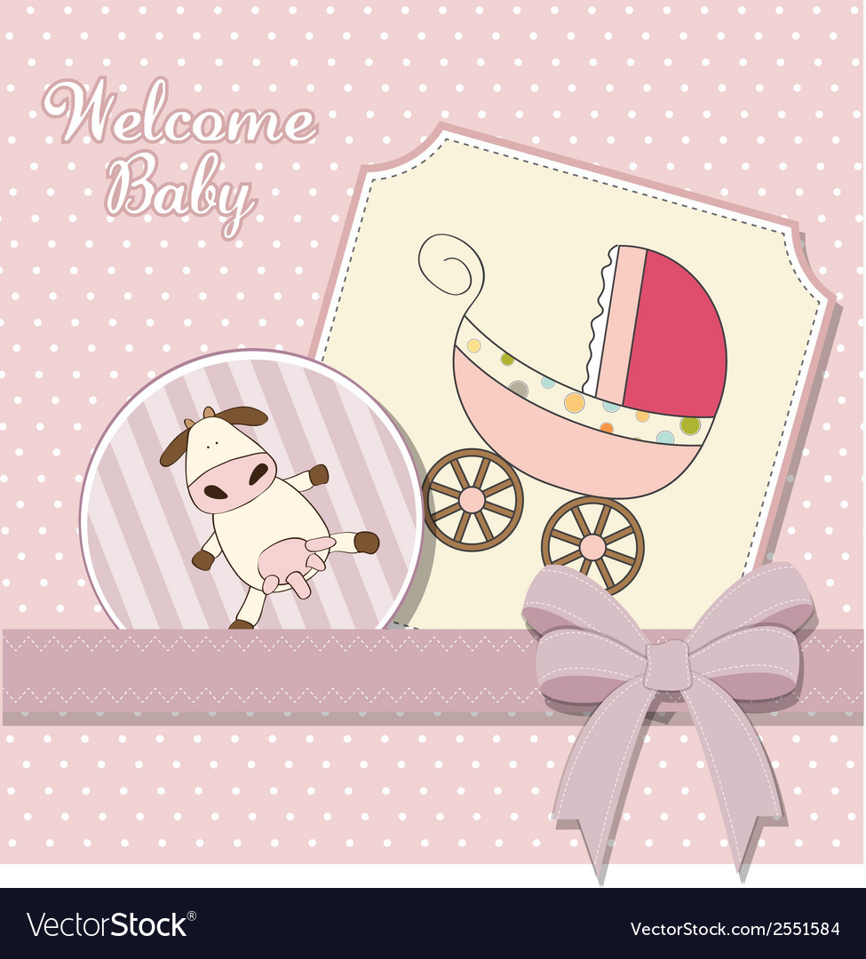 Baby girl announcement card vector | Price: 1 Credit (USD $1)
