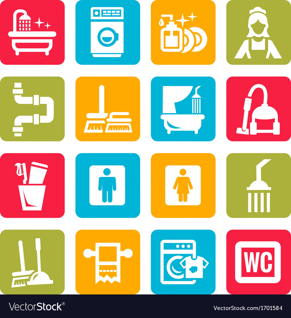Colorful cleaning icons vector | Price: 1 Credit (USD $1)