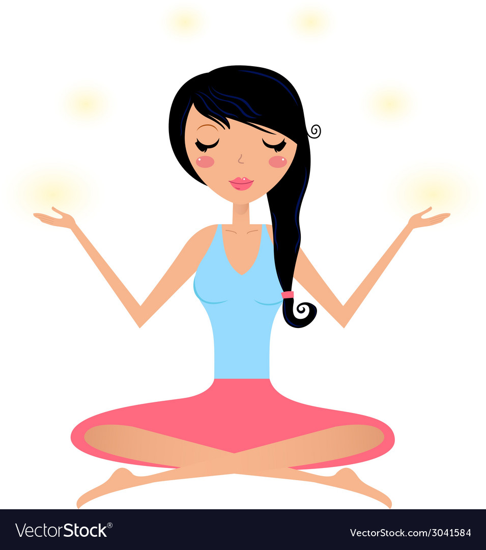 Cute woman doing yoga asana isolated on white vector | Price: 1 Credit (USD $1)