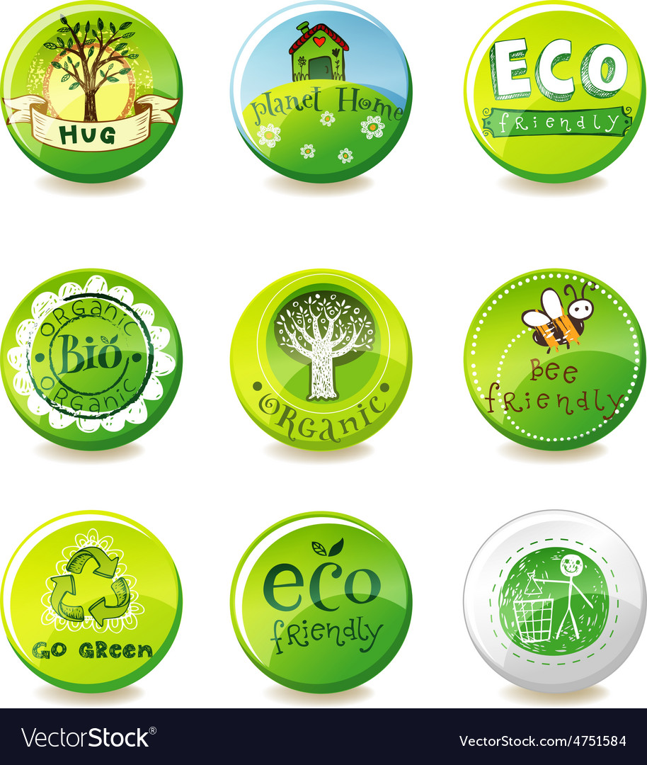 Glass eco badges vector | Price: 1 Credit (USD $1)