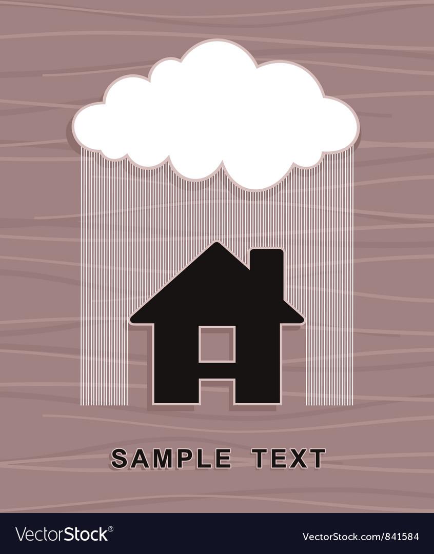 House under rain vector | Price: 1 Credit (USD $1)