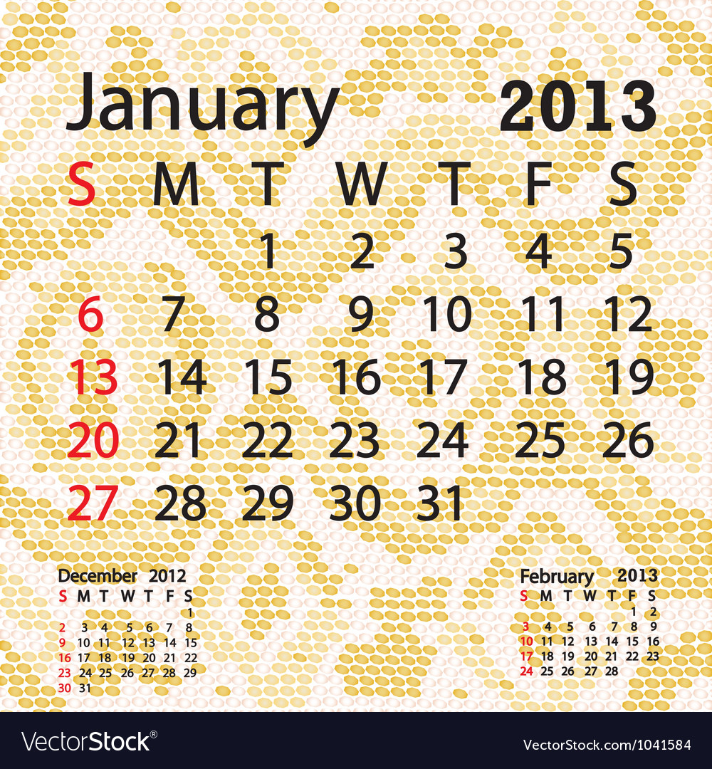 January 2013 calendar albino snake skin vector | Price: 1 Credit (USD $1)