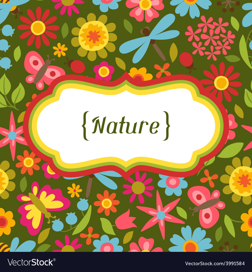 Natural card with beautiful flowers beetles and vector | Price: 1 Credit (USD $1)