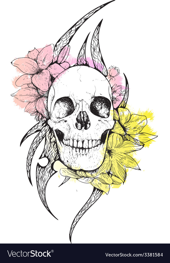 Skull and flowers vector | Price: 1 Credit (USD $1)