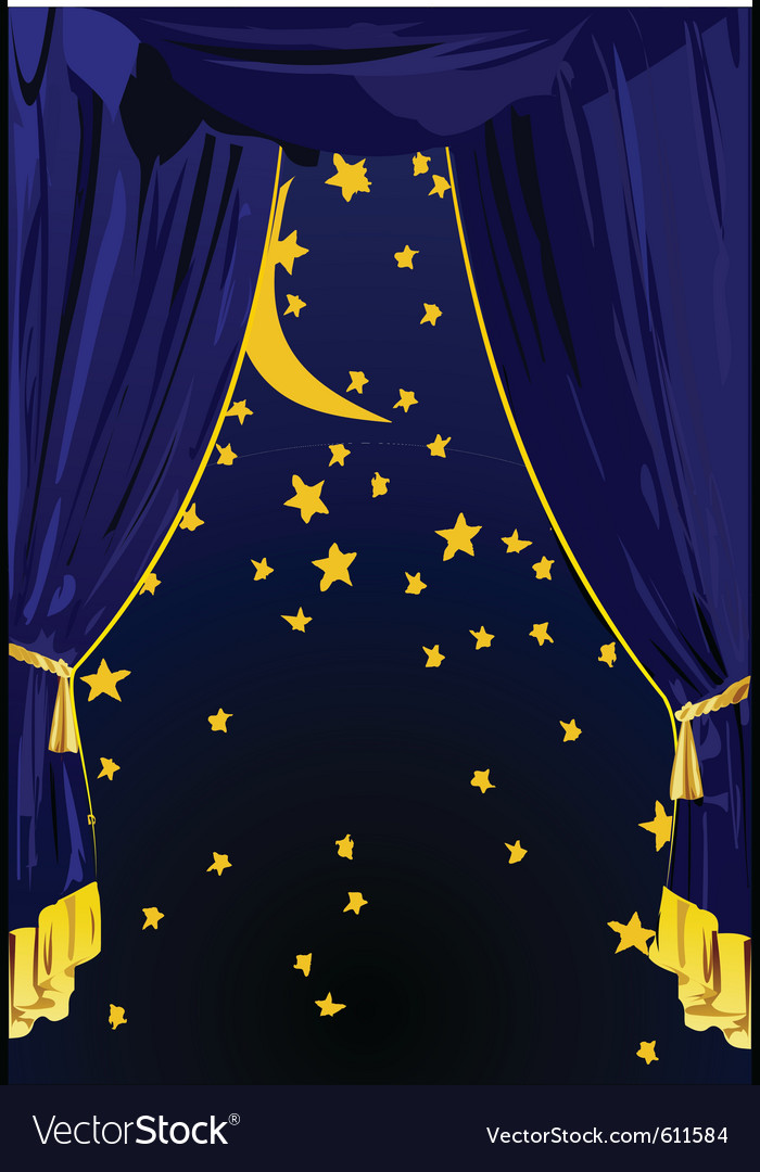 Starry night curtains vector | Price: 1 Credit (USD $1)