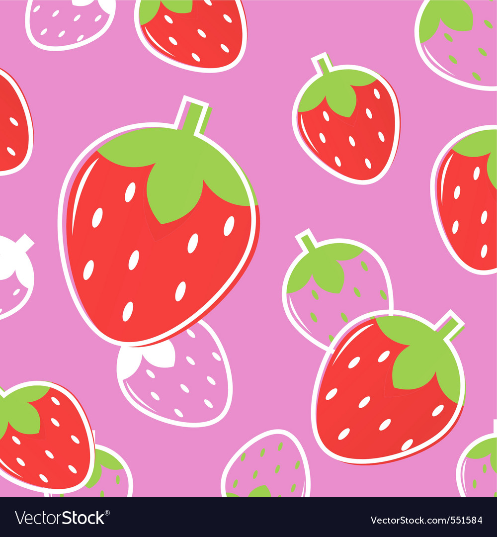 Strawberry fruit pattern vector | Price: 1 Credit (USD $1)