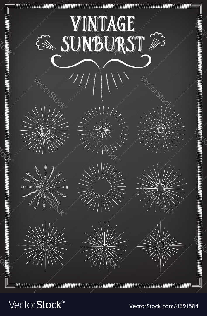 Sunburst ray design chalkboard doodle drawing vector | Price: 1 Credit (USD $1)
