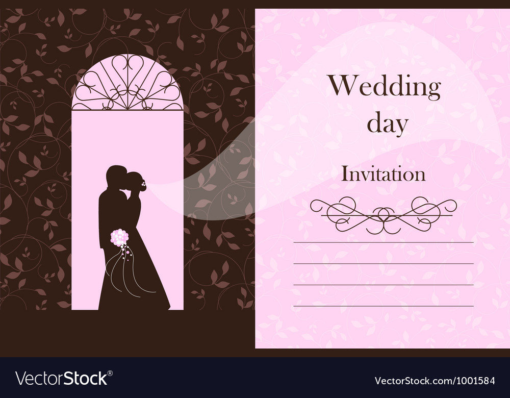 Wedding card - bride and groom silhouette vector | Price: 1 Credit (USD $1)