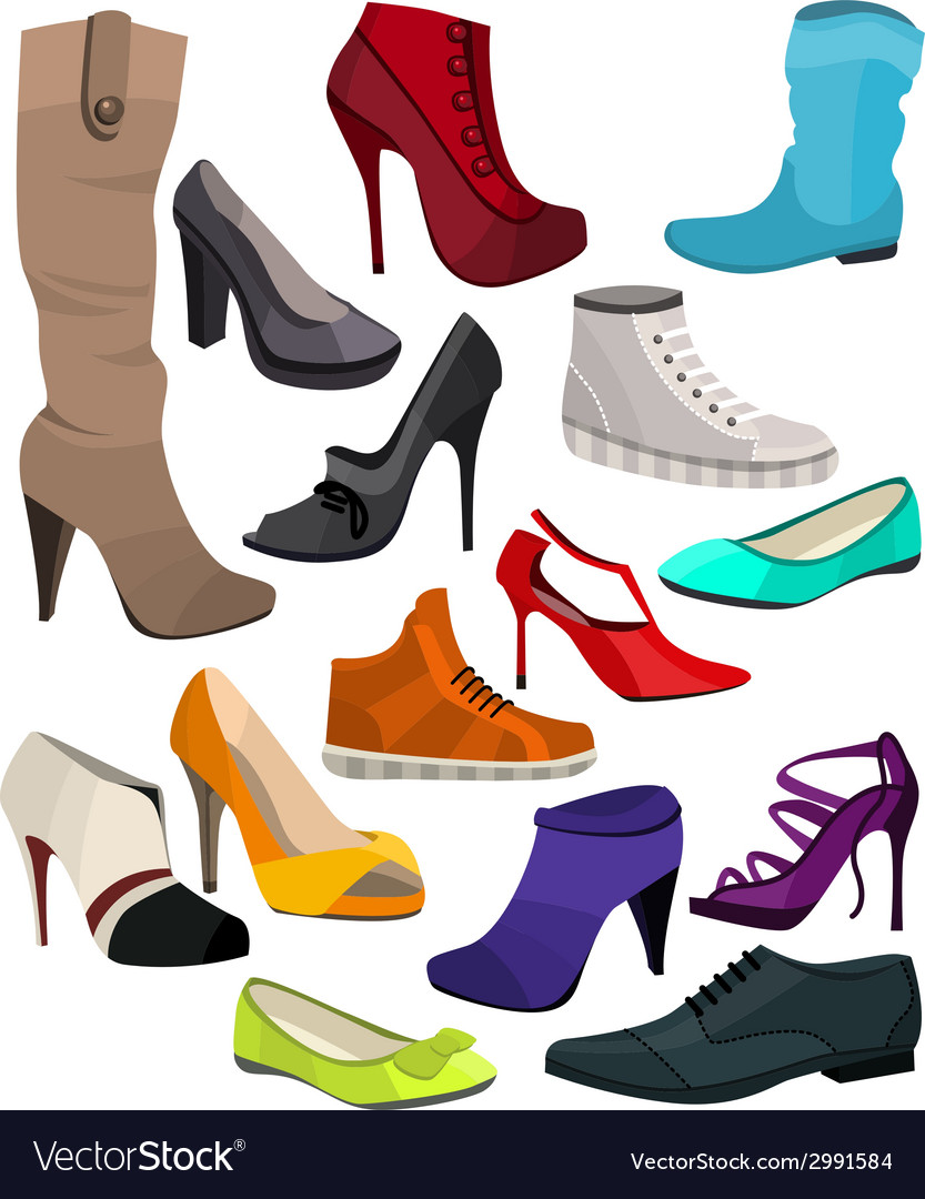 Womens fashion collection of shoes vector | Price: 1 Credit (USD $1)
