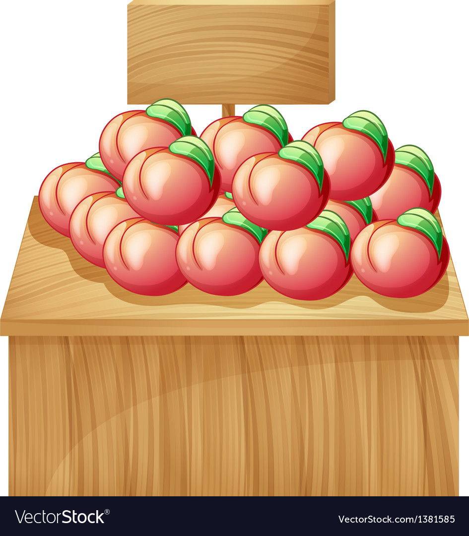 A fruit above a wooden table with a wooden vector | Price: 1 Credit (USD $1)