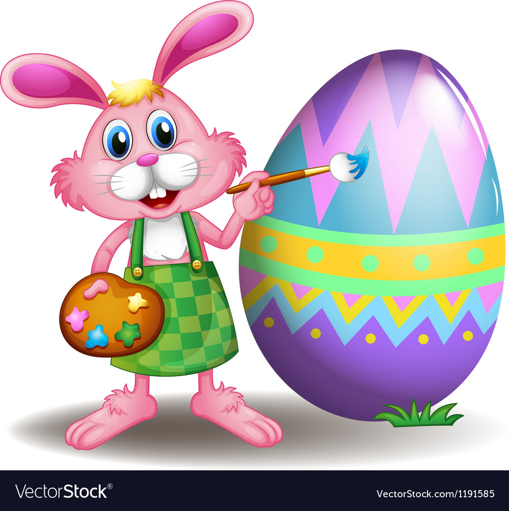 A rabbit painting the easter egg vector | Price: 1 Credit (USD $1)