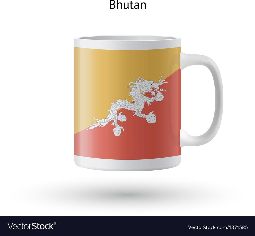 Bhutan flag souvenir mug on white background vector   Price: 1 Credit (USD $1)