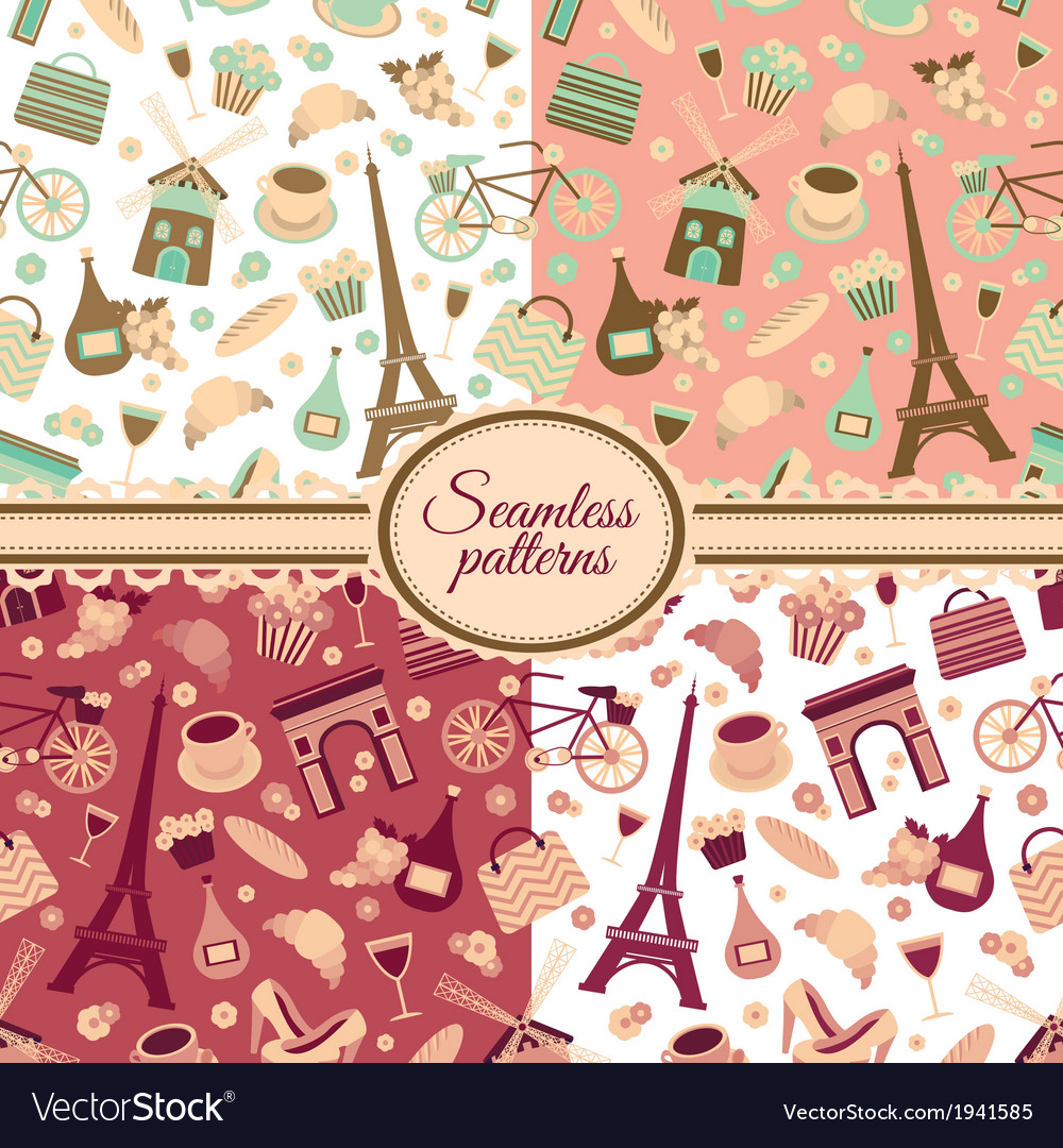 Collection of seamless patterns vector | Price: 1 Credit (USD $1)