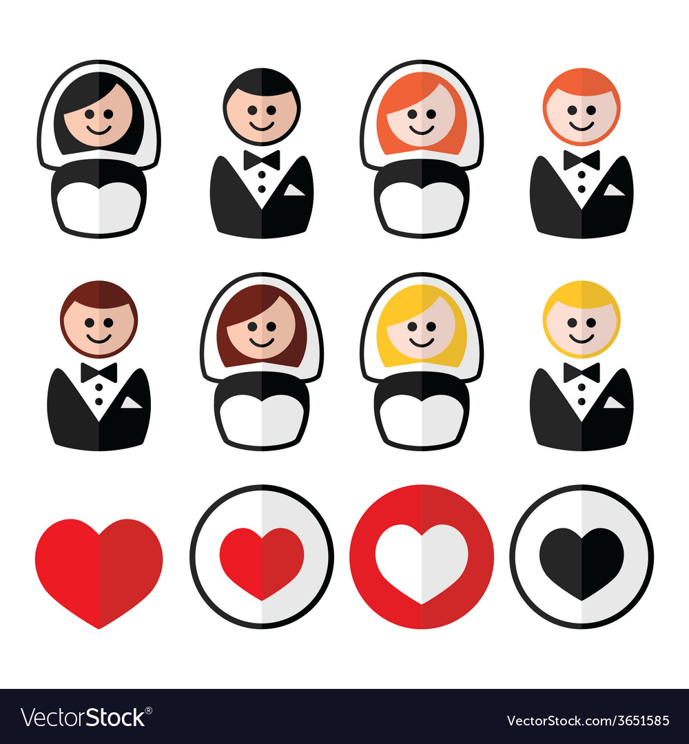 Groom and bride wedding icons - black blonde vector | Price: 1 Credit (USD $1)
