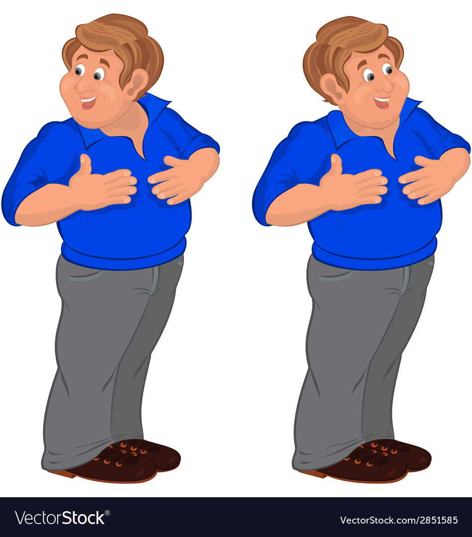 Happy cartoon man walking in blue polo shirt vector | Price: 1 Credit (USD $1)