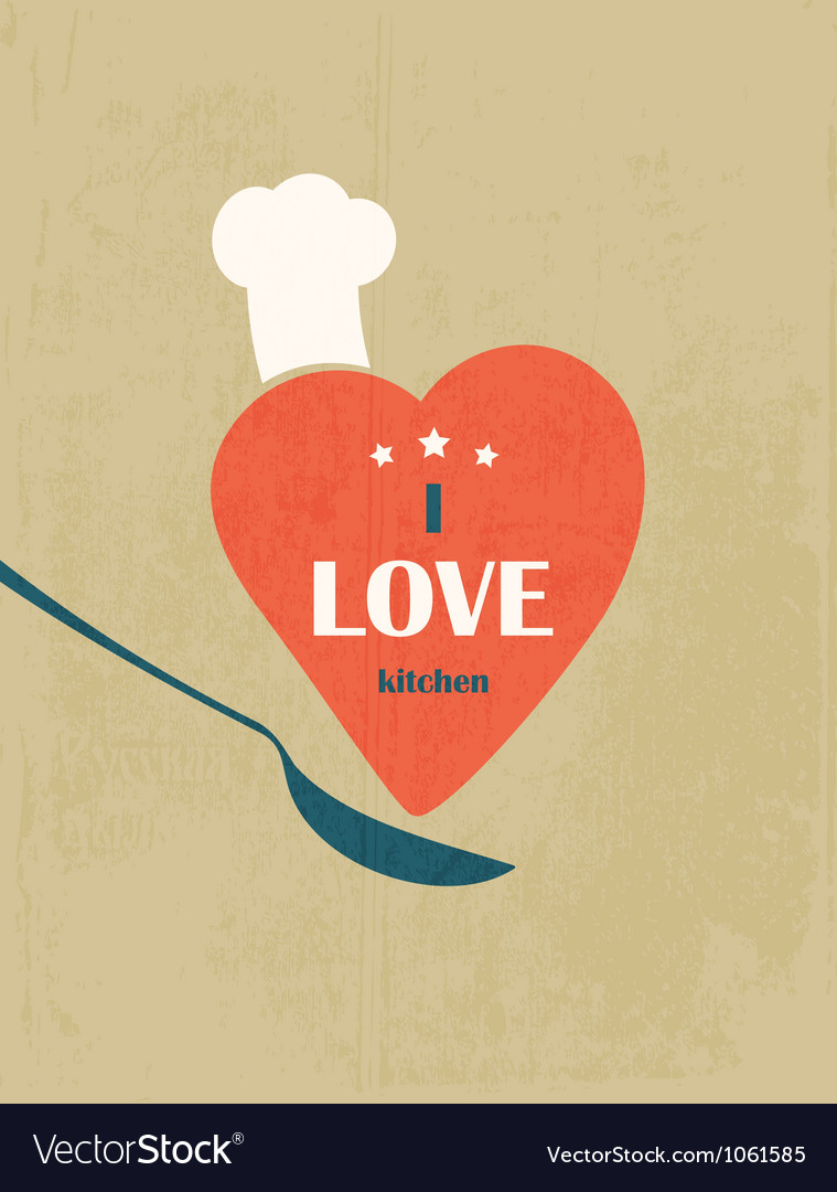 I love the kitchen retro poster vector | Price: 1 Credit (USD $1)