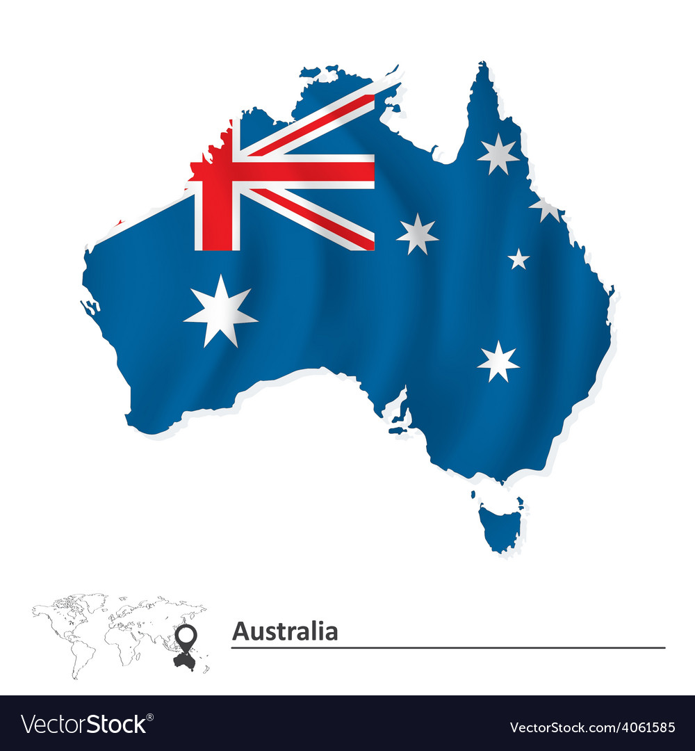 Map of australia with flag vector   Price: 1 Credit (USD $1)