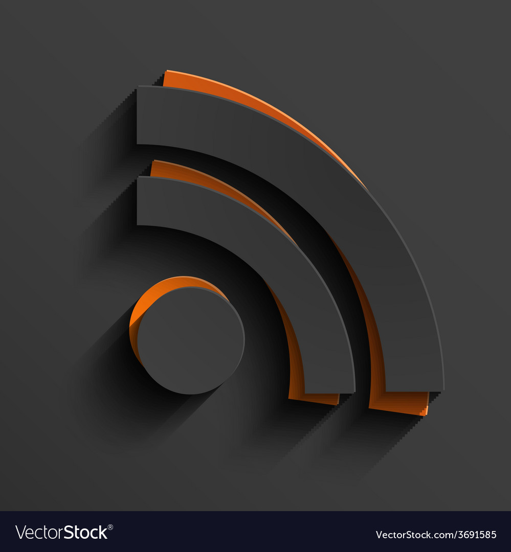 Modern rss feed sign with shadow vector | Price: 1 Credit (USD $1)