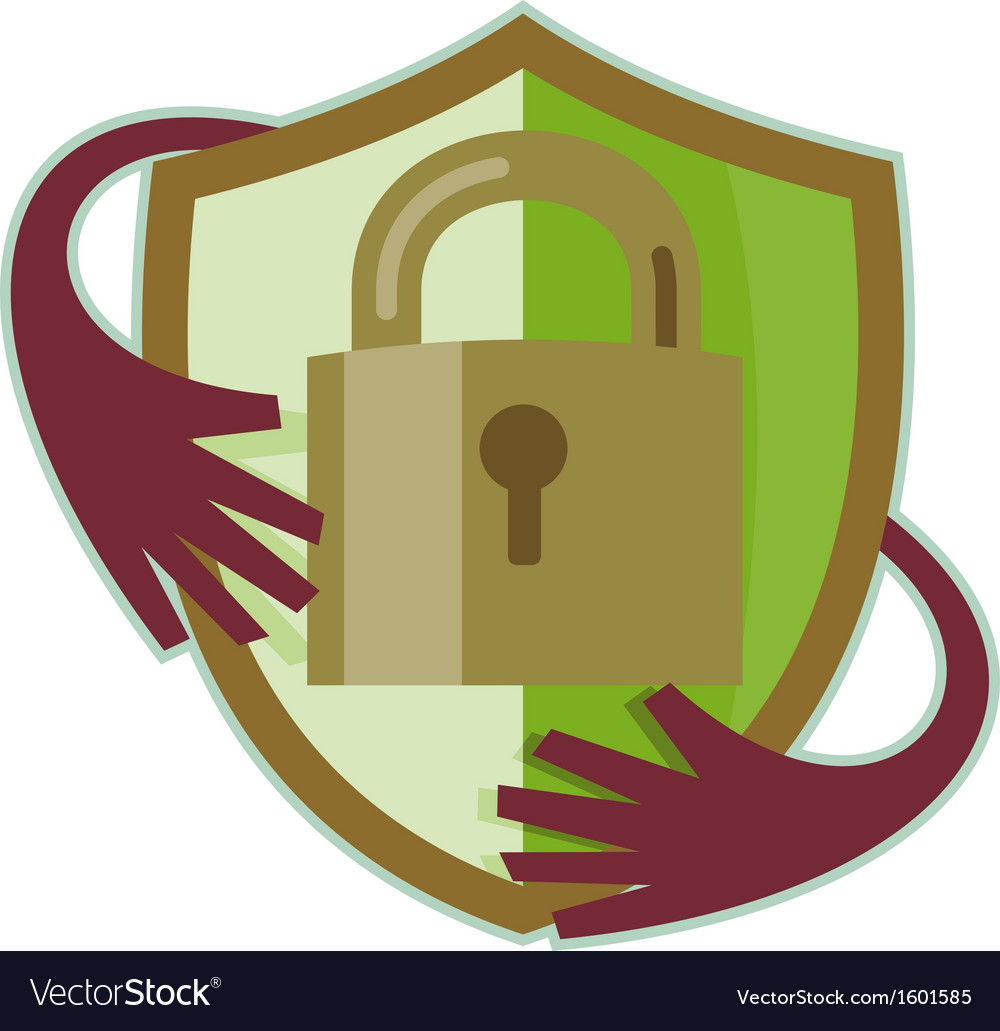 Padlock with shield and hands reaching in vector | Price: 1 Credit (USD $1)