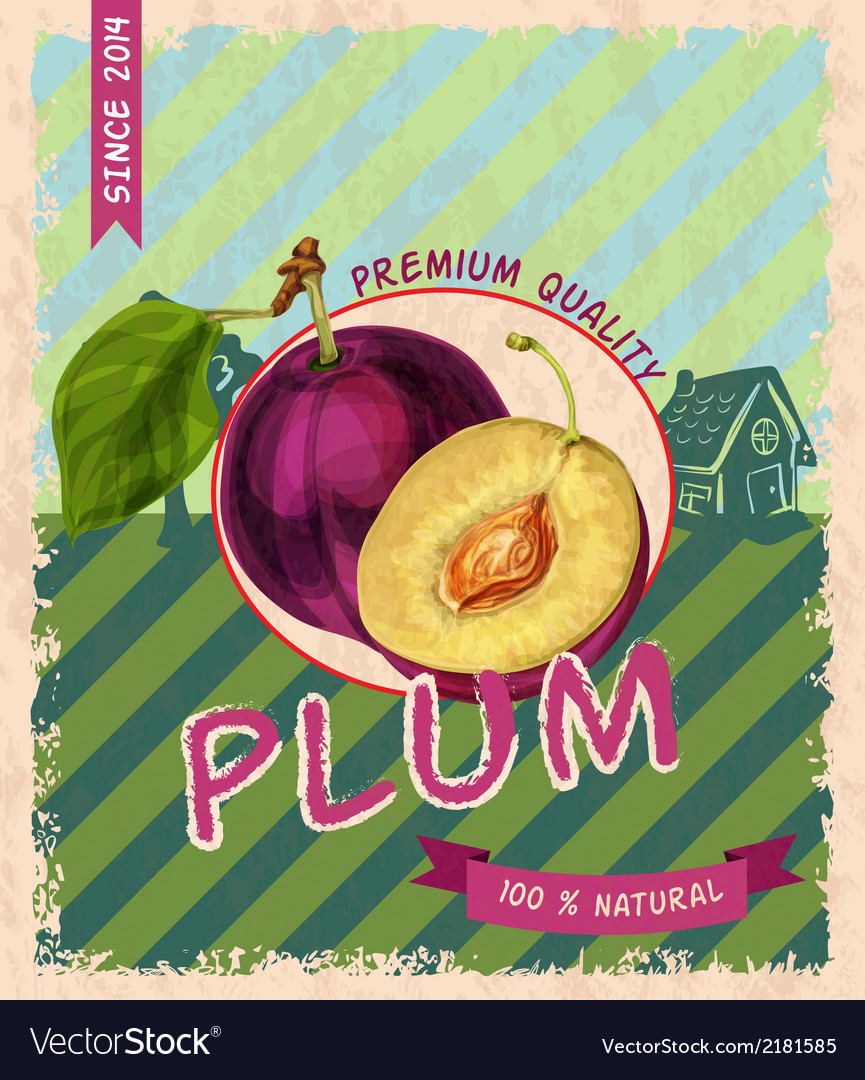 Plum retro poster vector | Price: 1 Credit (USD $1)