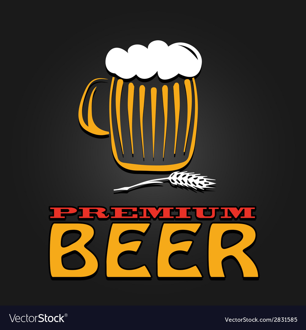 Premium beer mug barley vintage design poster vector | Price: 1 Credit (USD $1)