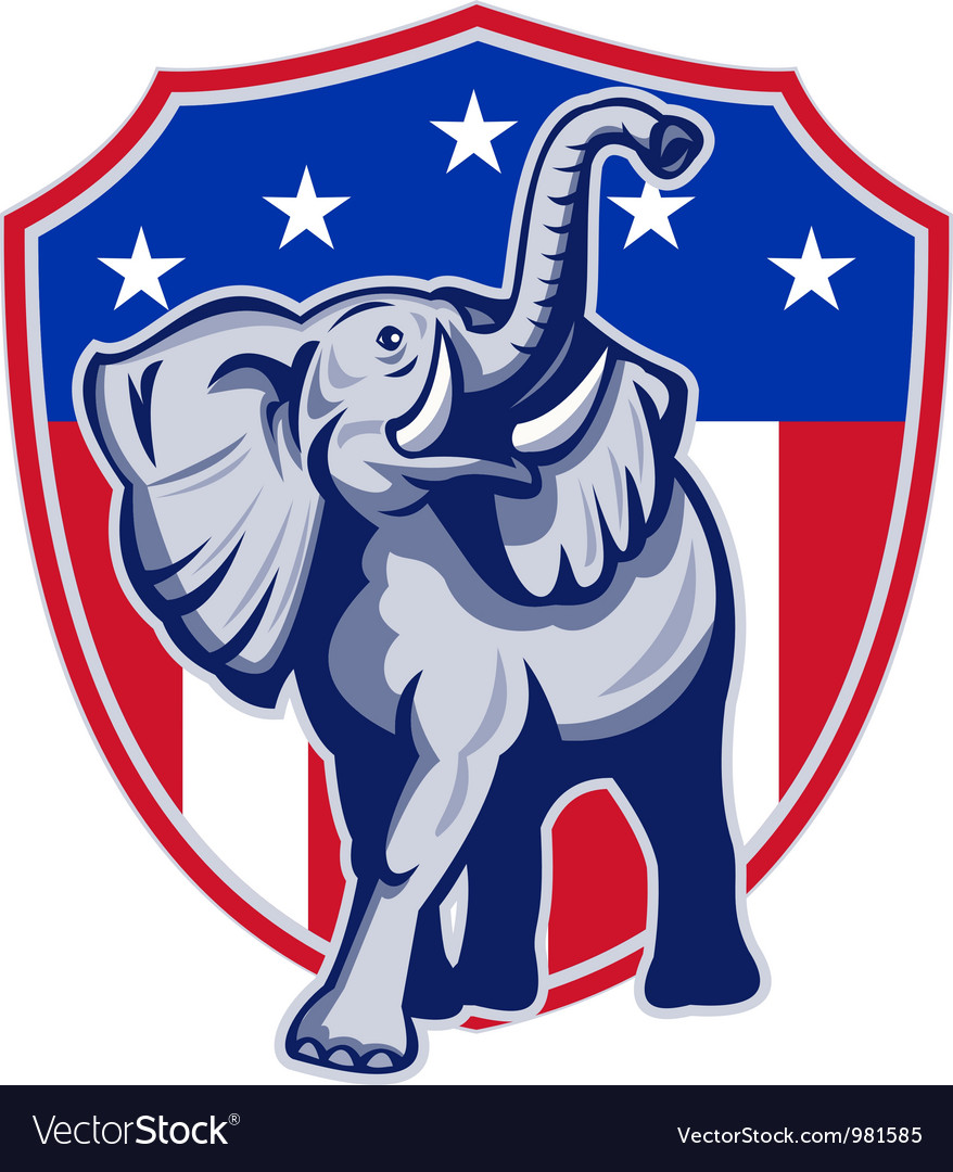 Republican elephant mascot usa flag vector | Price: 3 Credit (USD $3)