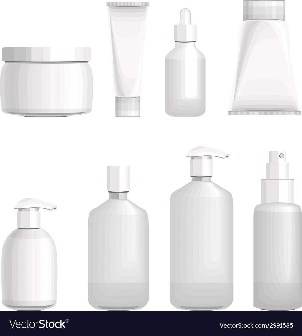 Set with different cosmetic bottles no gradients vector | Price: 1 Credit (USD $1)