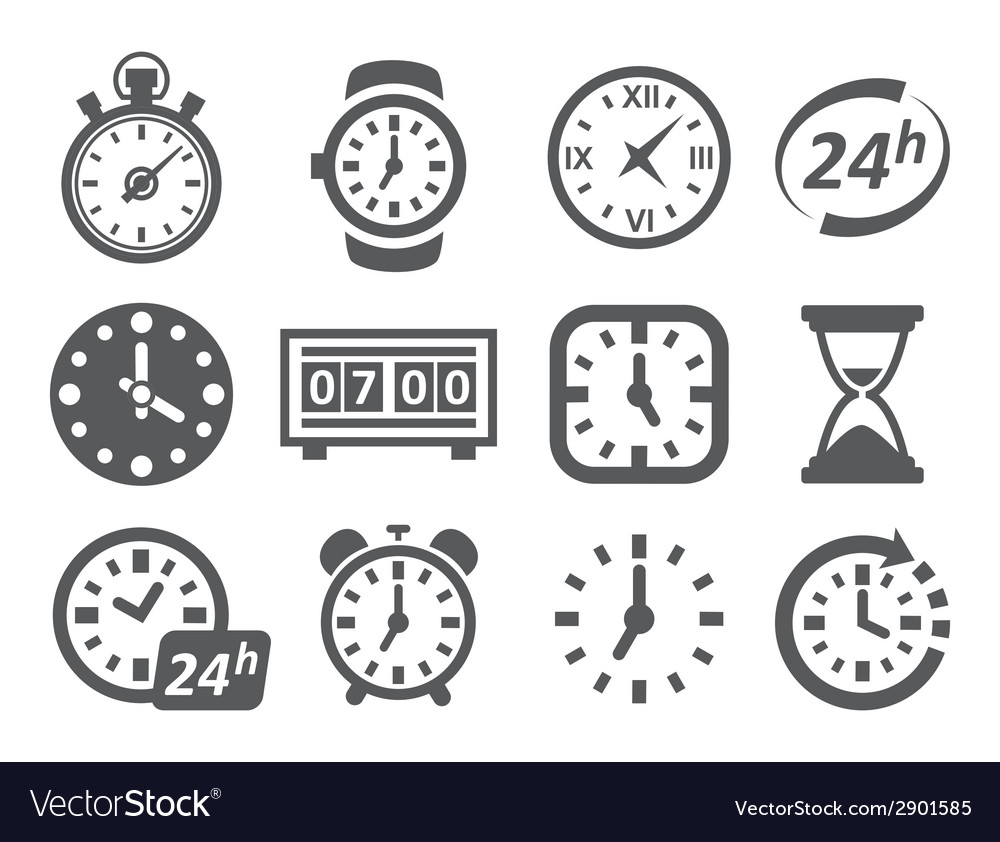 Time and clock icons vector | Price: 1 Credit (USD $1)