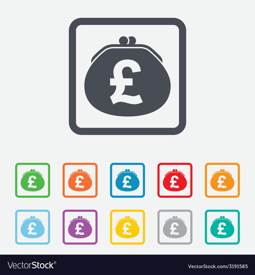 Wallet pound sign icon cash bag symbol vector | Price: 1 Credit (USD $1)