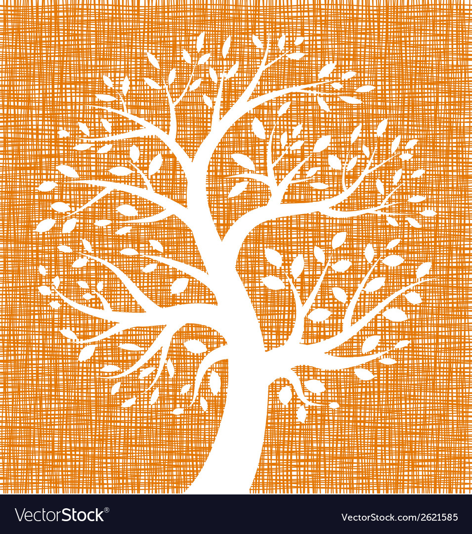 White tree icon on orange canvas texture vector | Price: 1 Credit (USD $1)