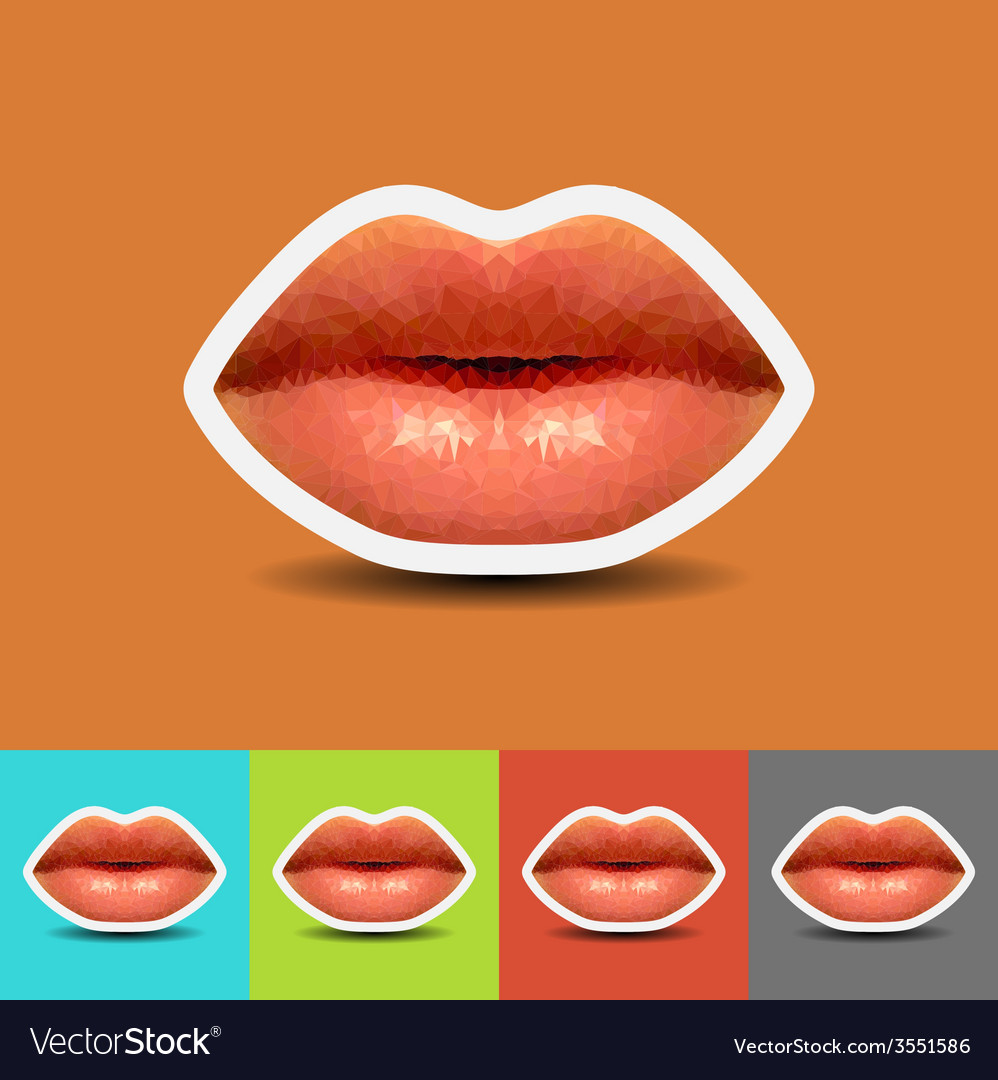 Abstract lips low polygonal vector | Price: 1 Credit (USD $1)