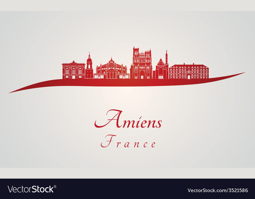 Amiens skyline in red vector | Price: 1 Credit (USD $1)