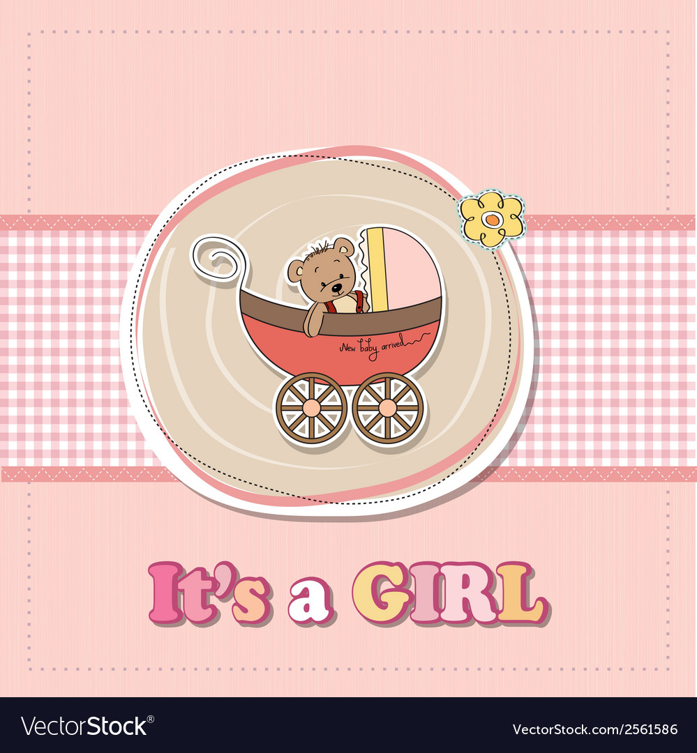 Baby girl shower card with funny teddy bear in vector | Price: 1 Credit (USD $1)