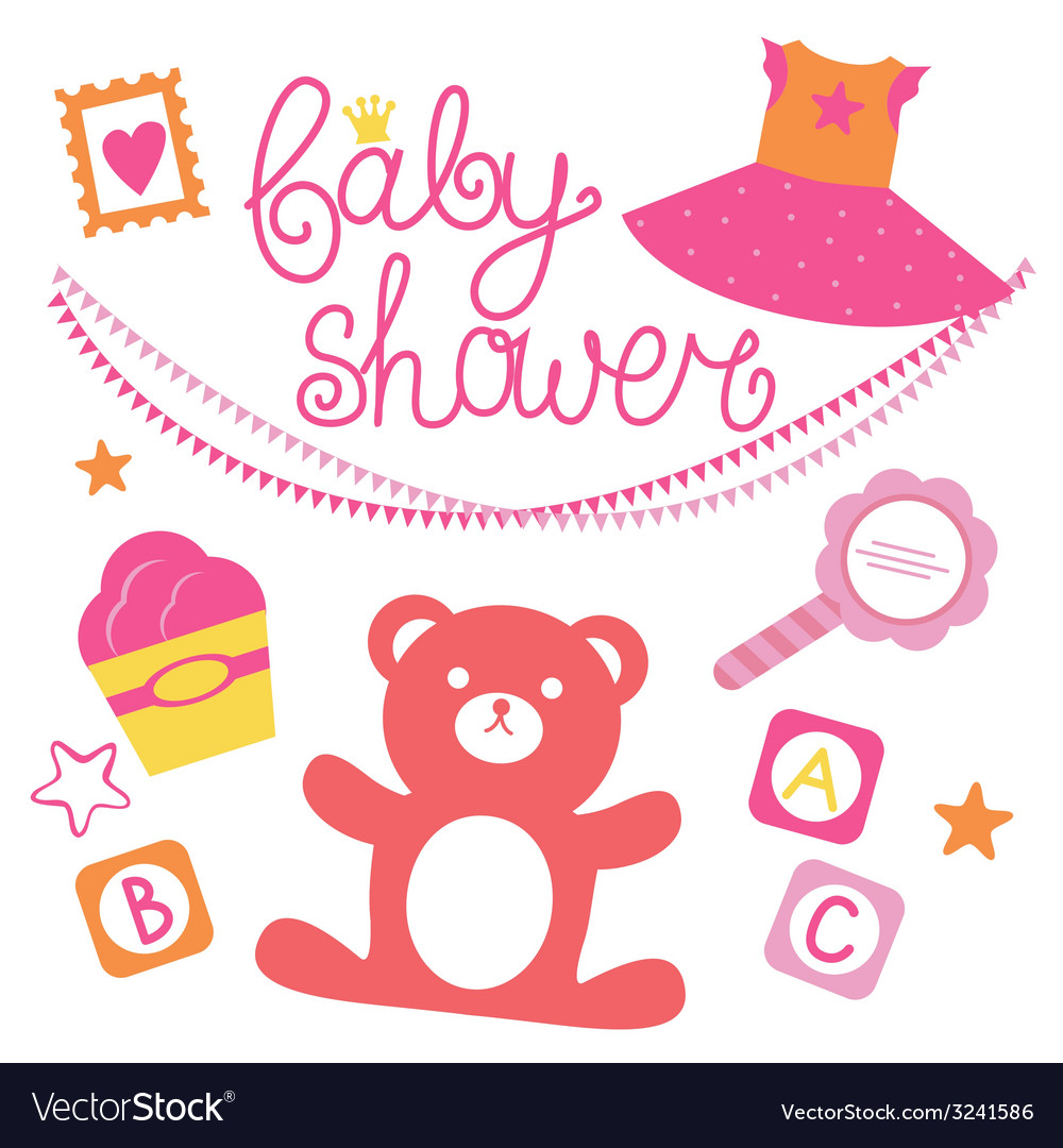 Baby shower set for girl vector | Price: 1 Credit (USD $1)