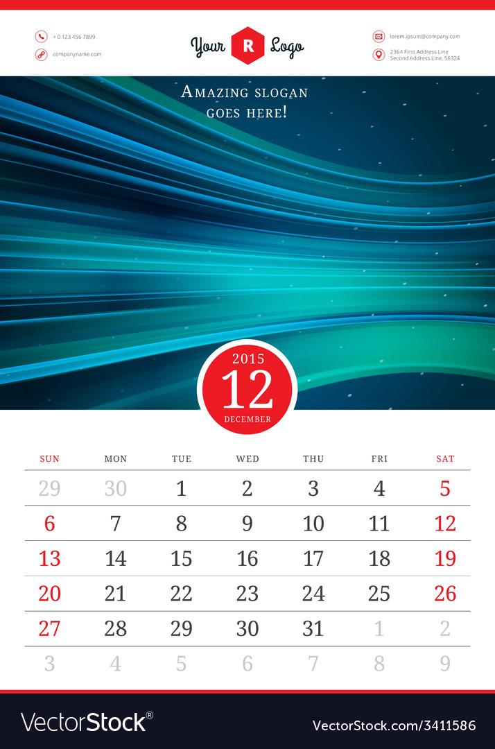 Calendar 2015 template week starts sunday vector   Price: 1 Credit (USD $1)