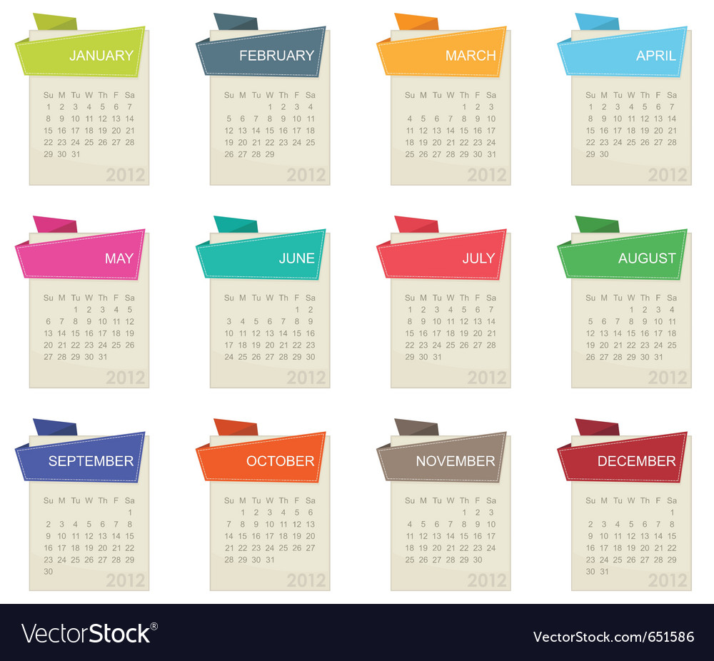 Calender for 2012 vector | Price: 1 Credit (USD $1)