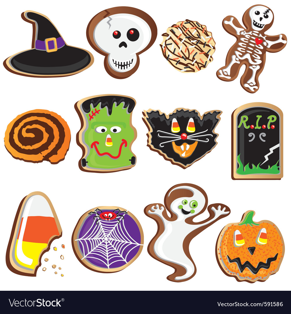 Cute halloween cookies clipart vector | Price: 3 Credit (USD $3)