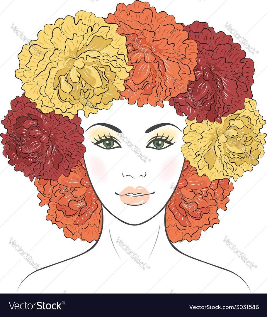 Girl with floral hair vector | Price: 1 Credit (USD $1)