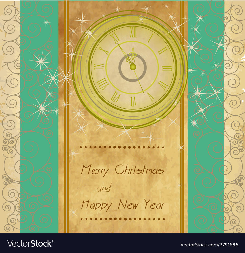 Merry christmas vintage background vector | Price: 1 Credit (USD $1)