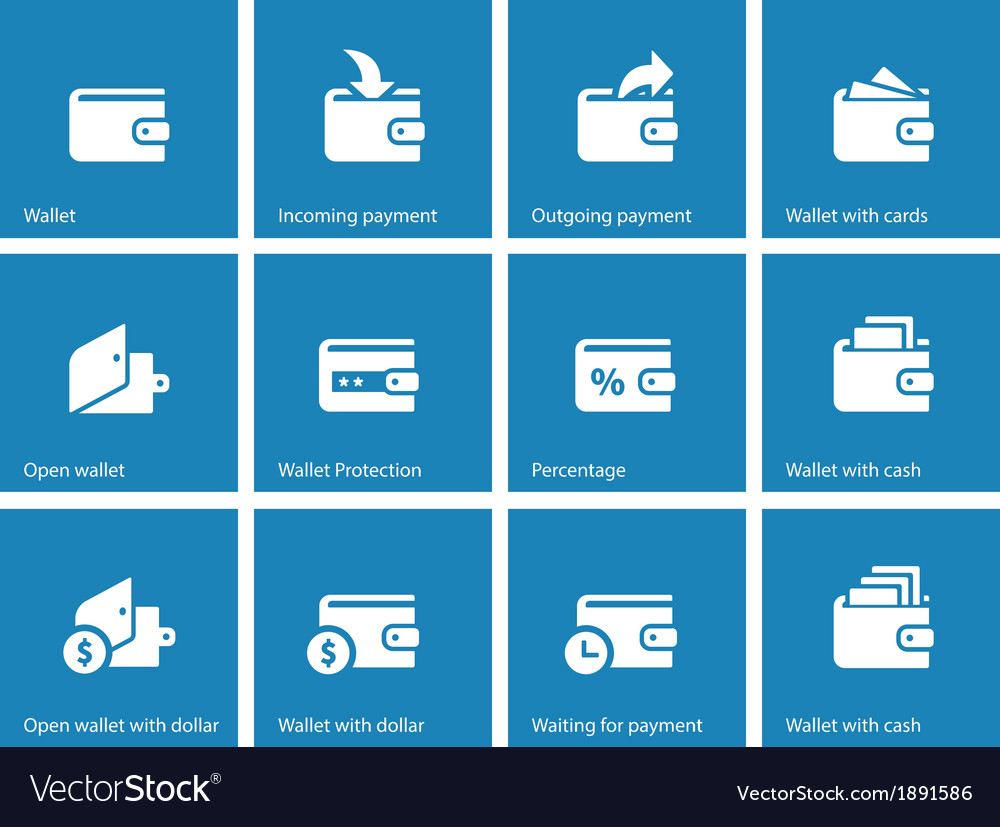 Personal wallet icons on blue background vector | Price: 1 Credit (USD $1)