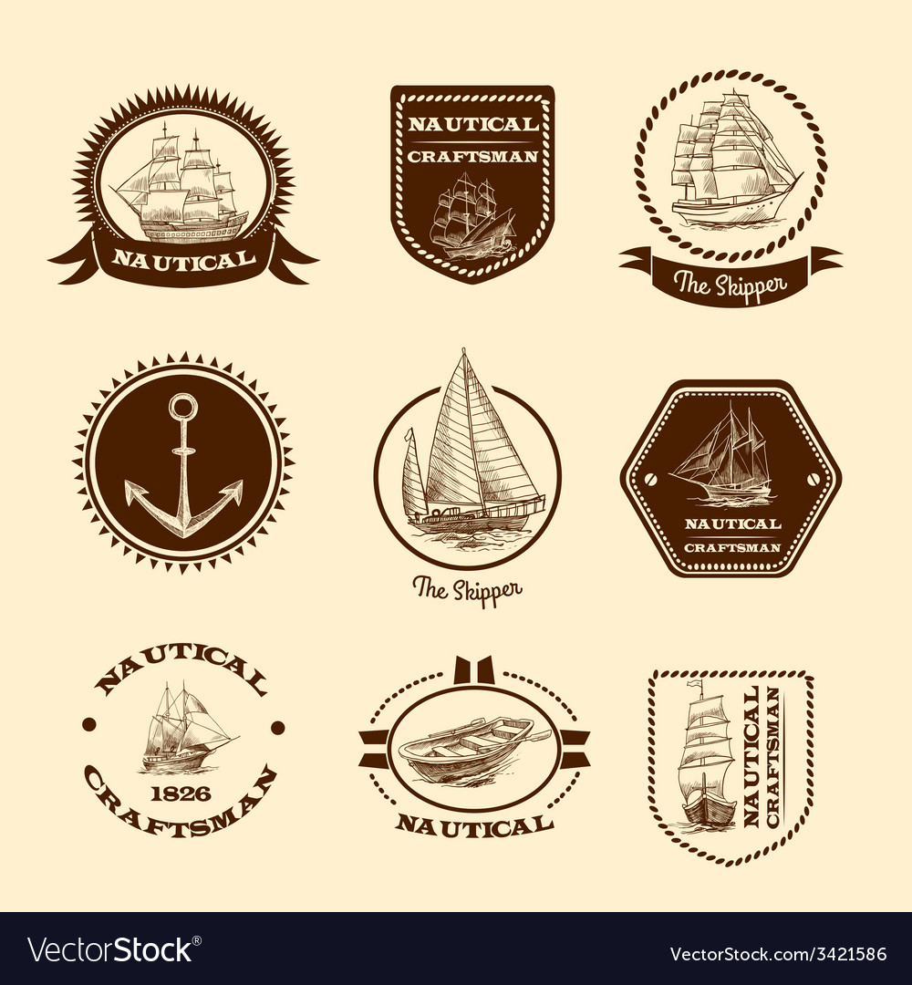 Sketch nautical emblems vector | Price: 1 Credit (USD $1)