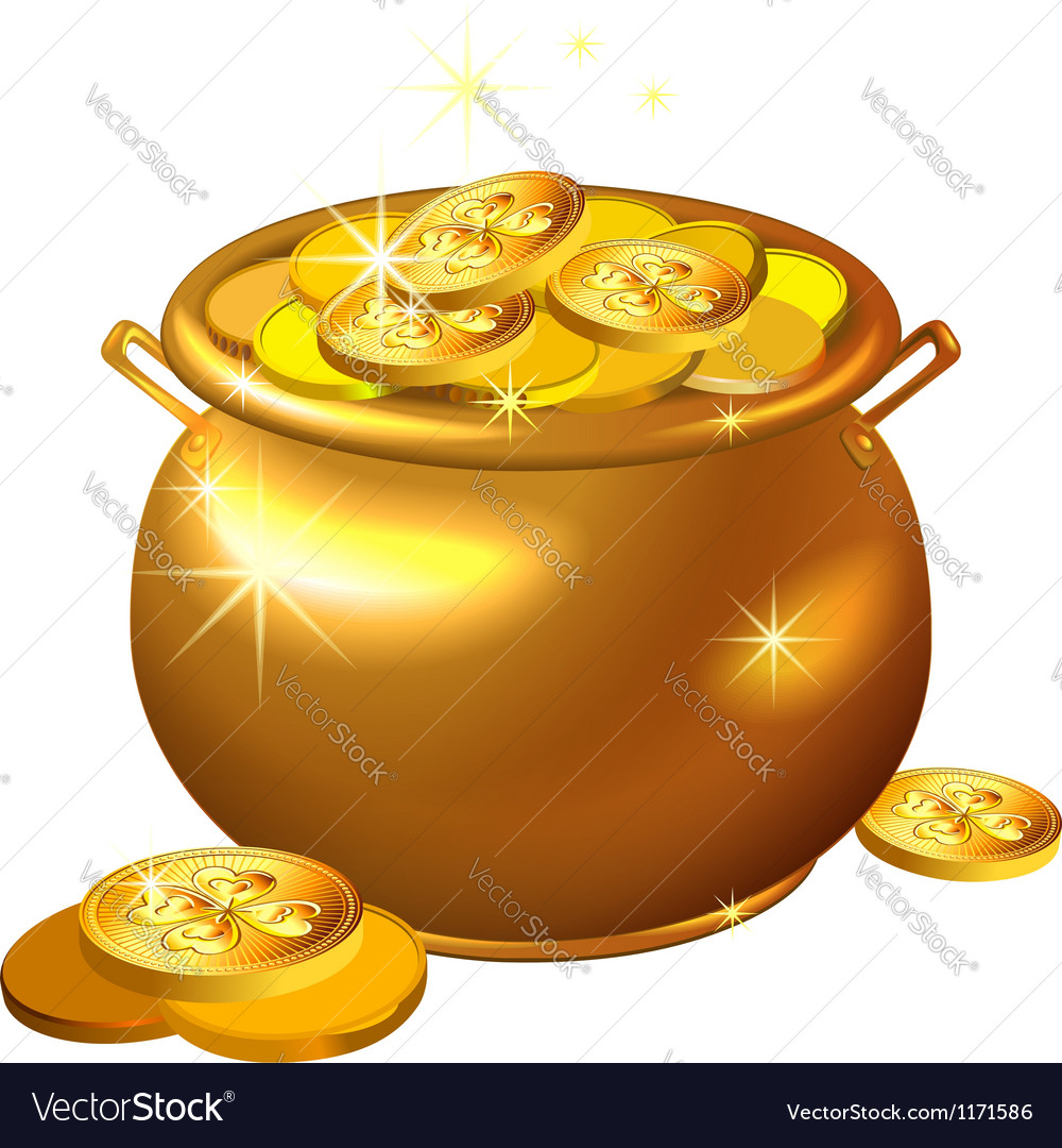 St patrick day gold pot with coins vector | Price: 1 Credit (USD $1)