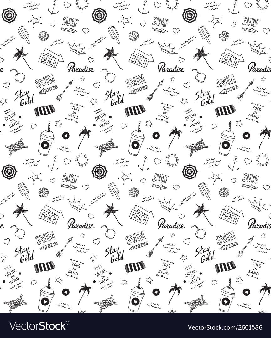 Summer beach pattern in old school tattoo style vector | Price: 1 Credit (USD $1)