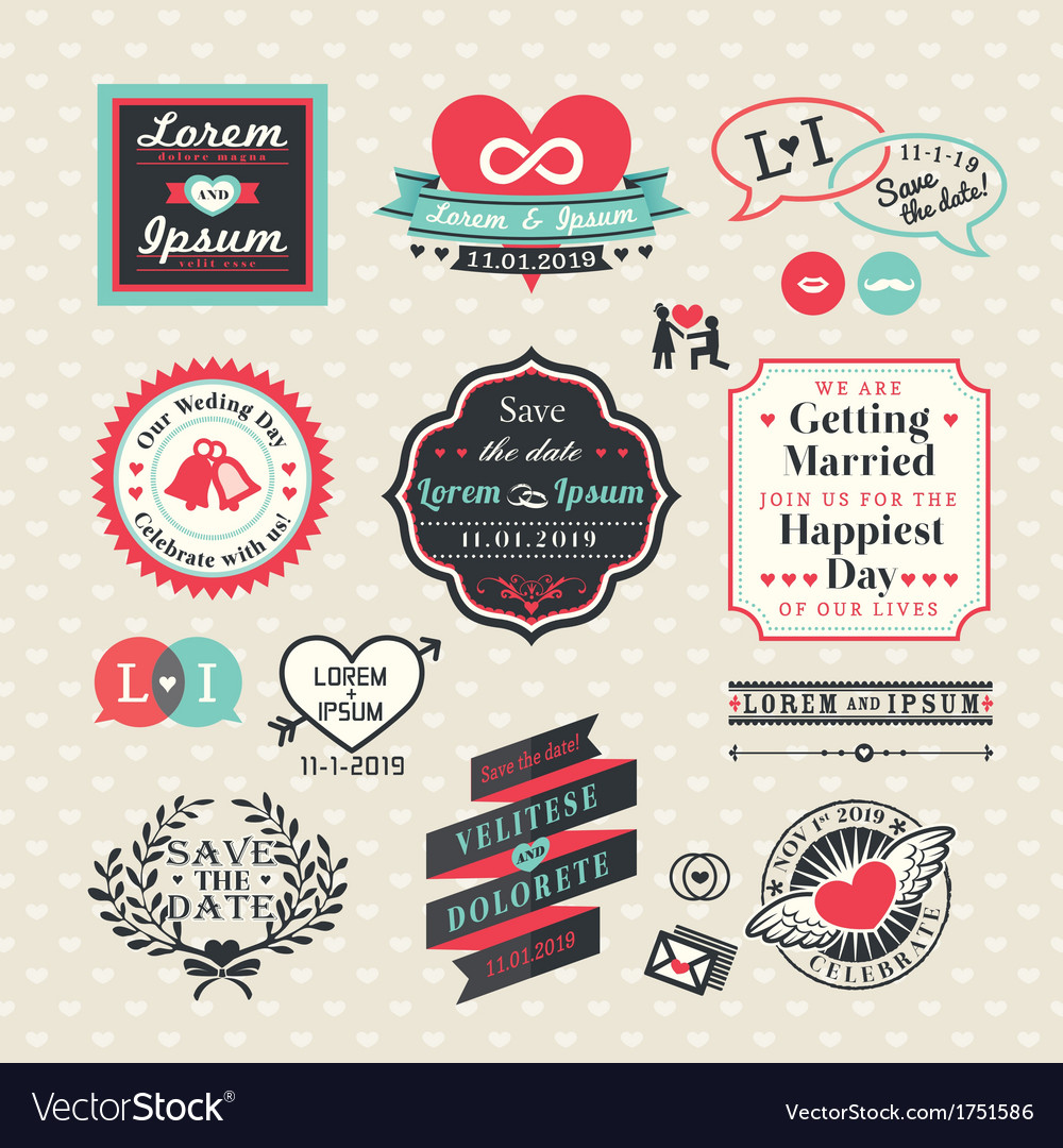 Wedding elements labels and frames vintage style vector | Price: 1 Credit (USD $1)