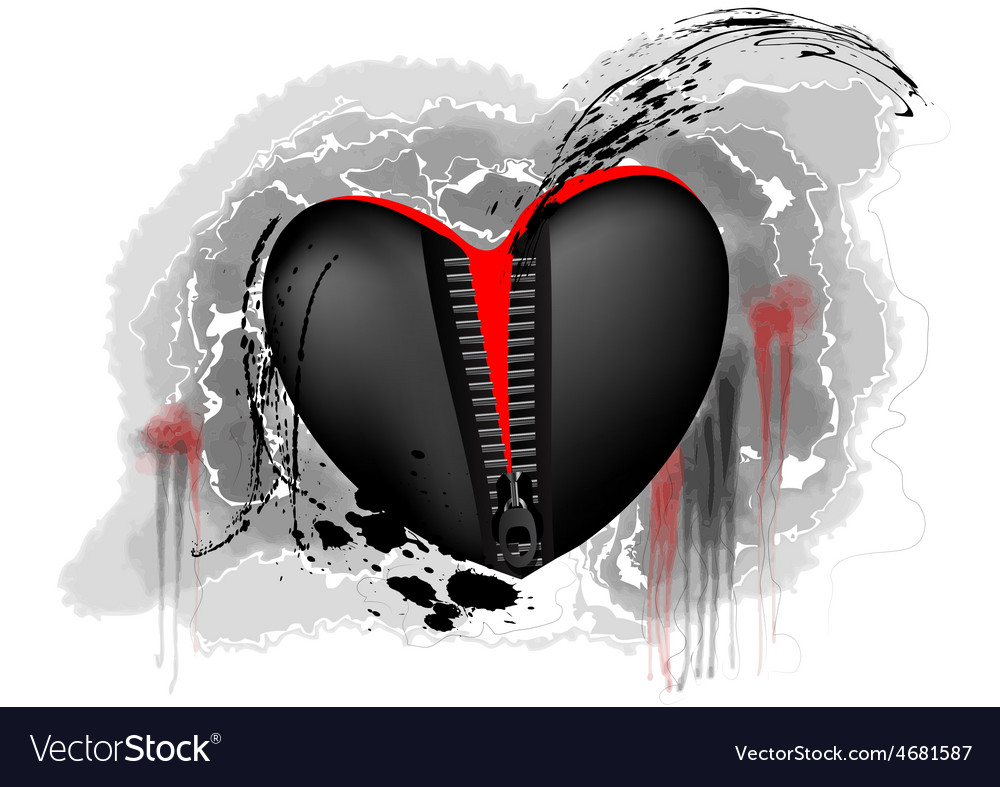 Black and red heart vector | Price: 1 Credit (USD $1)