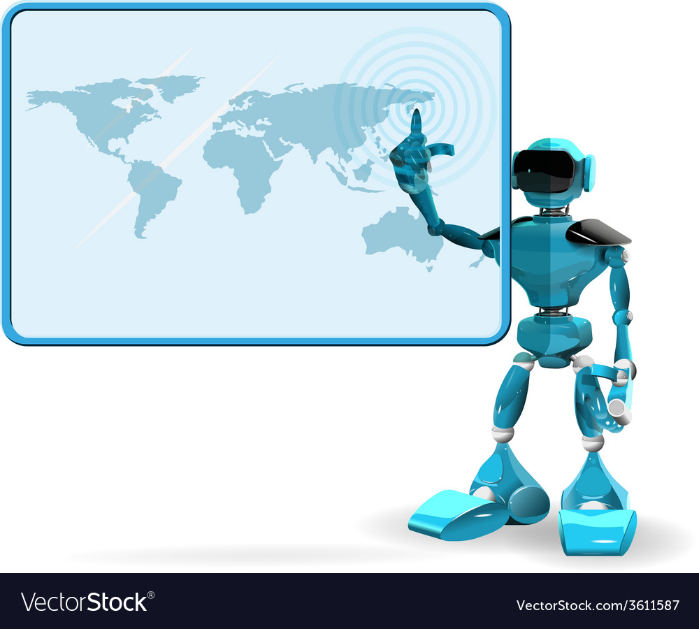Blue robot and screen vector | Price: 3 Credit (USD $3)
