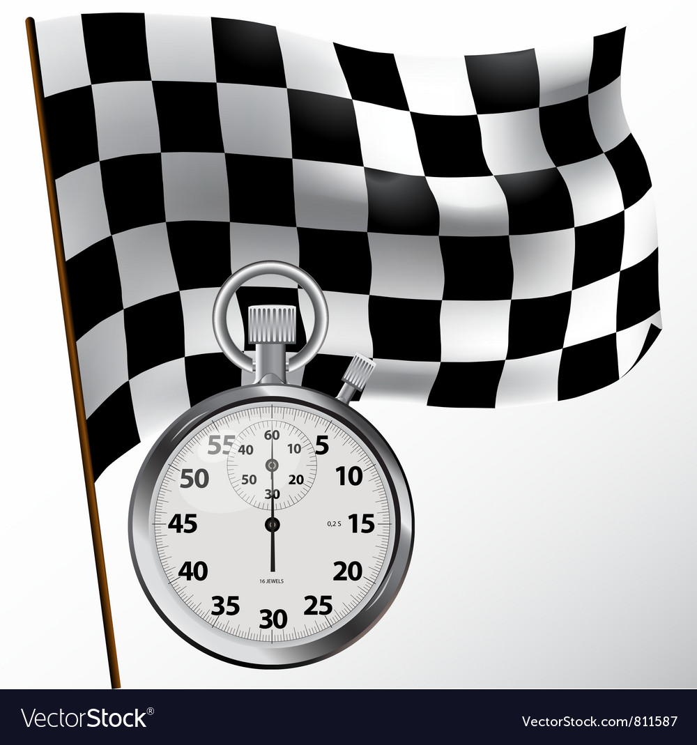 Checkered flag and stopwatch vector | Price: 3 Credit (USD $3)