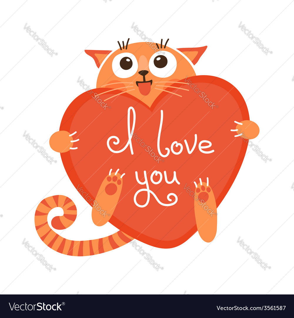 Cute cartoon ginger cat with heart and declaration vector | Price: 1 Credit (USD $1)